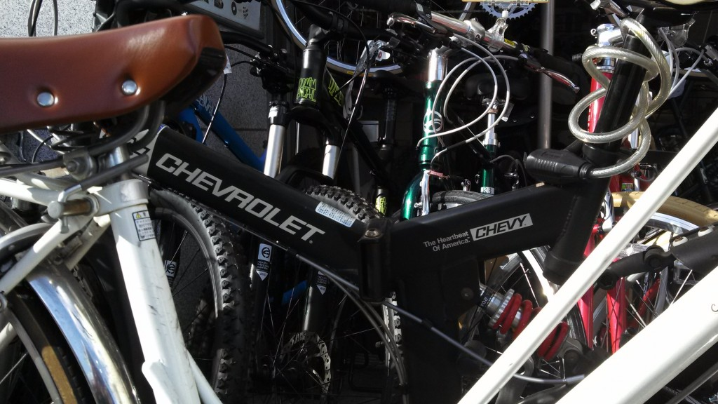 "Chevrolet branded bike ""The Heartbeat of America"" in Kyoto"