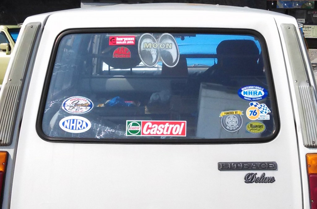 NHRA, Moon Eyes stickers on 70's Toyota LiteAce Kyoto