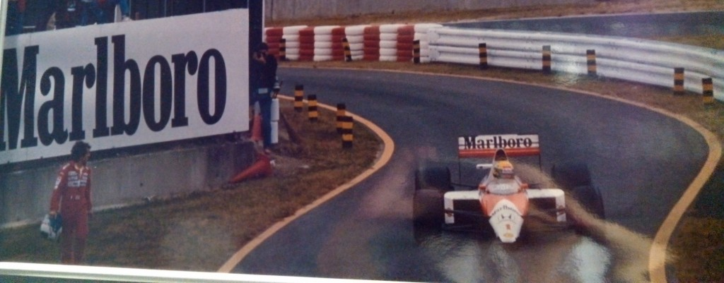 Suzuka: Prost sees Senna re-entering the race; proceeds to the Steward's tower....